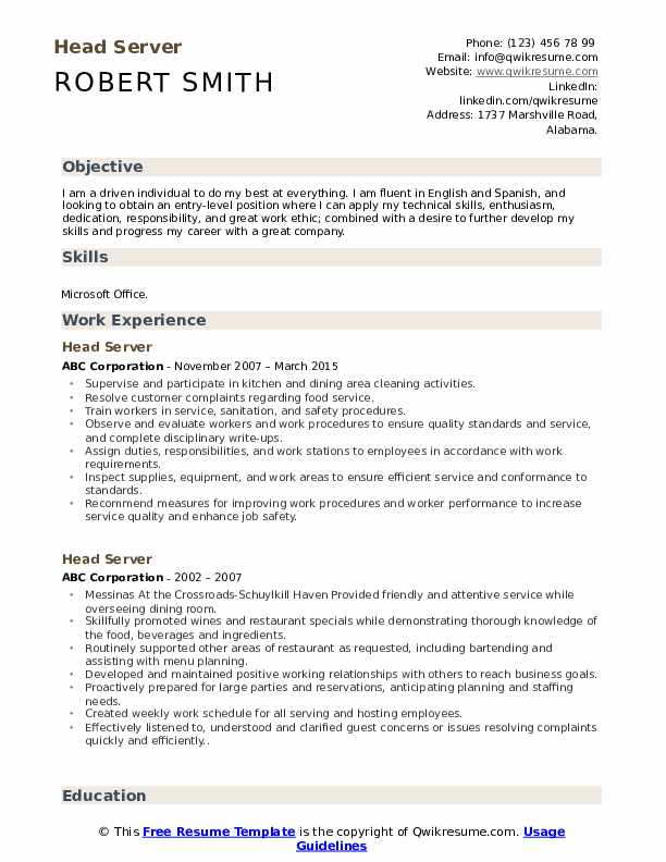 head server resume samples qwikresume job duties for on pdf personal projects rpa Resume Job Duties For Server On Resume