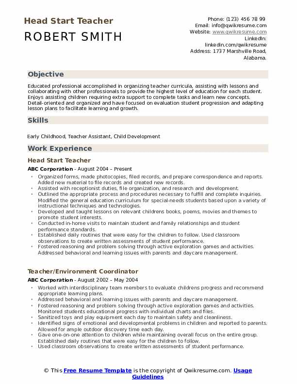 head start teacher resume samples qwikresume sample pdf collection format mail or email Resume Head Start Teacher Resume Sample