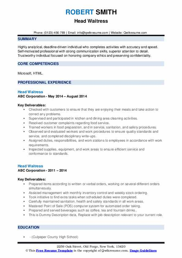 head waitress resume samples qwikresume template word pdf importance of building college Resume Waitress Resume Template Word