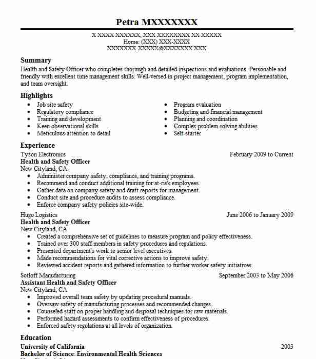 health and safety officer resume example resumes misc livecareer experience resignation Resume Safety Experience Resume
