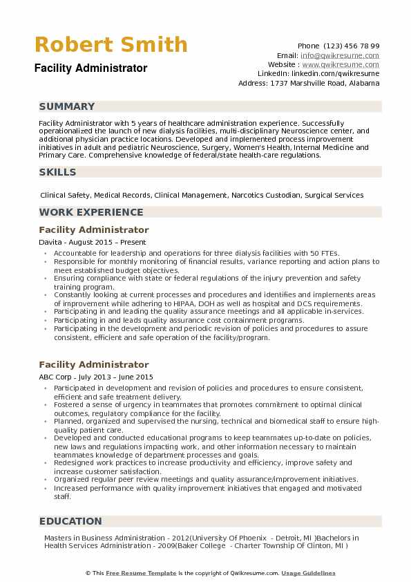 health service administration resume mryn ism healthcare objective facility administrator Resume Healthcare Resume Objective
