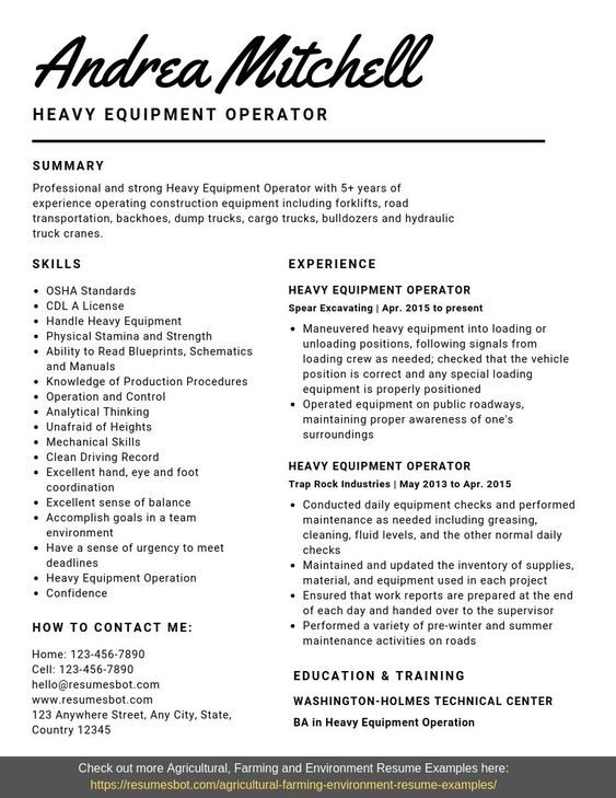 heavy equipment operator resume samples templates pdf word resumes bot examples aviation Resume Heavy Equipment Operator Resume