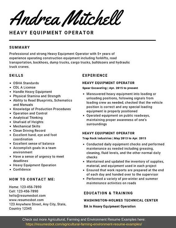 heavy equipment operator resume samples templates pdf word resumes bot supervisor example Resume Heavy Equipment Operator Supervisor Resume