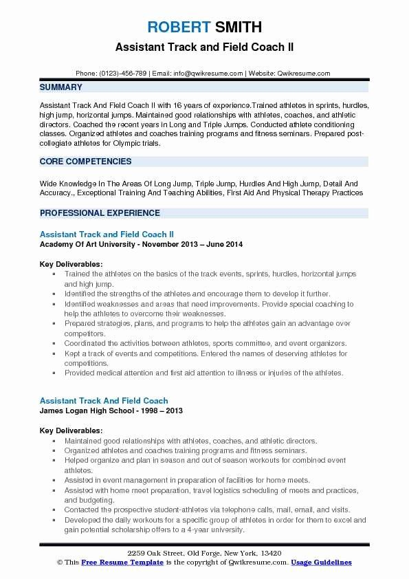 high school coaching resume new assistant track and field coach samples examples cnc Resume Assistant Coach Resume Sample