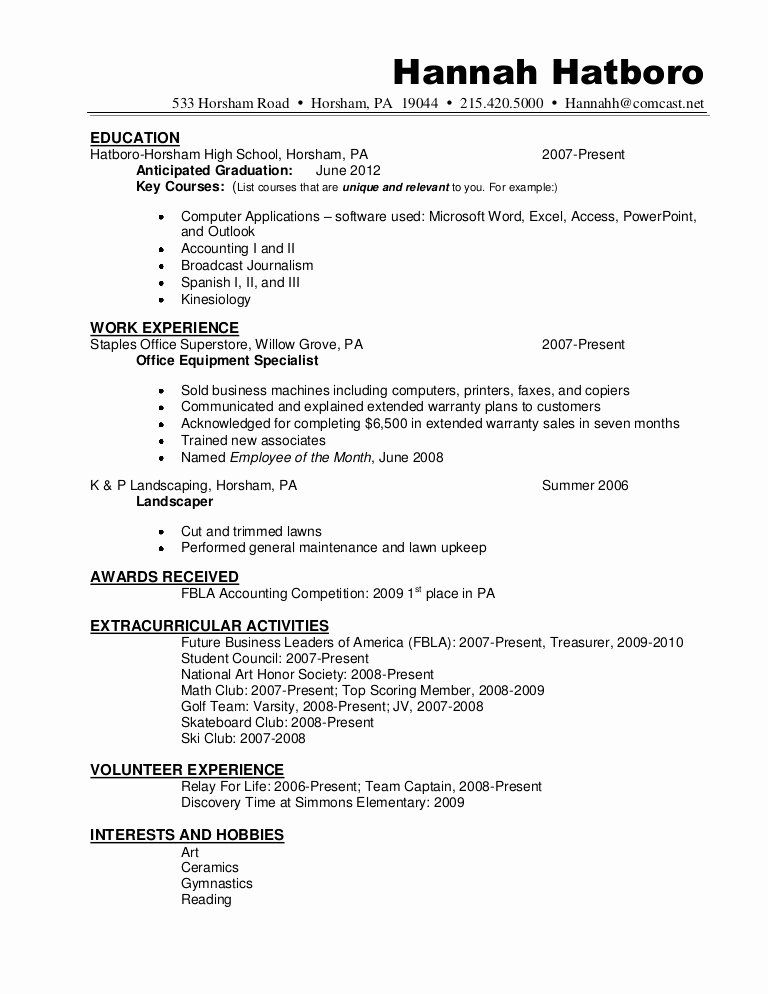 high school diploma on resume unique sample hannah hatboro student template effective Resume Honor Society On Resume