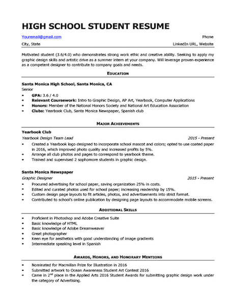 high school resume templates and examples fairygodboss putting together great Resume Putting Together A Great High School Resume