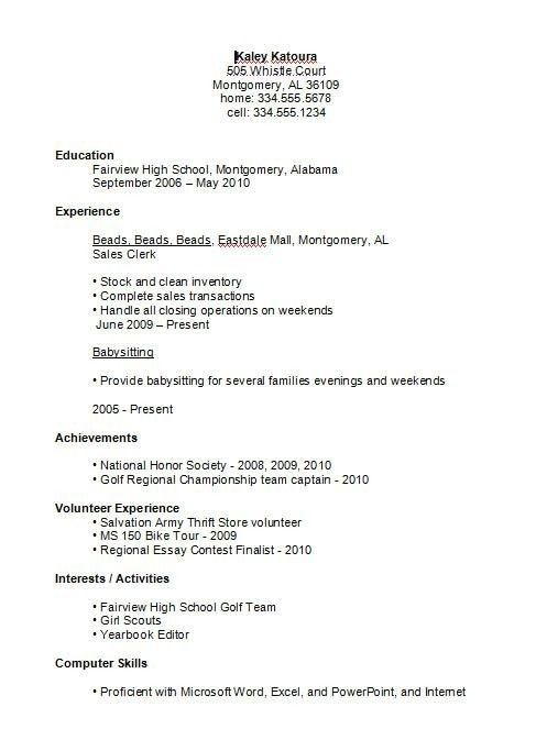 high school student resume examples first job business template for pertaining to Resume First Resume High School