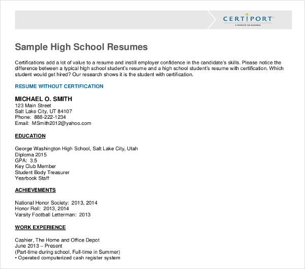 high school student resume templates pdf free premium examples sample template fnp Resume High School Resume Examples