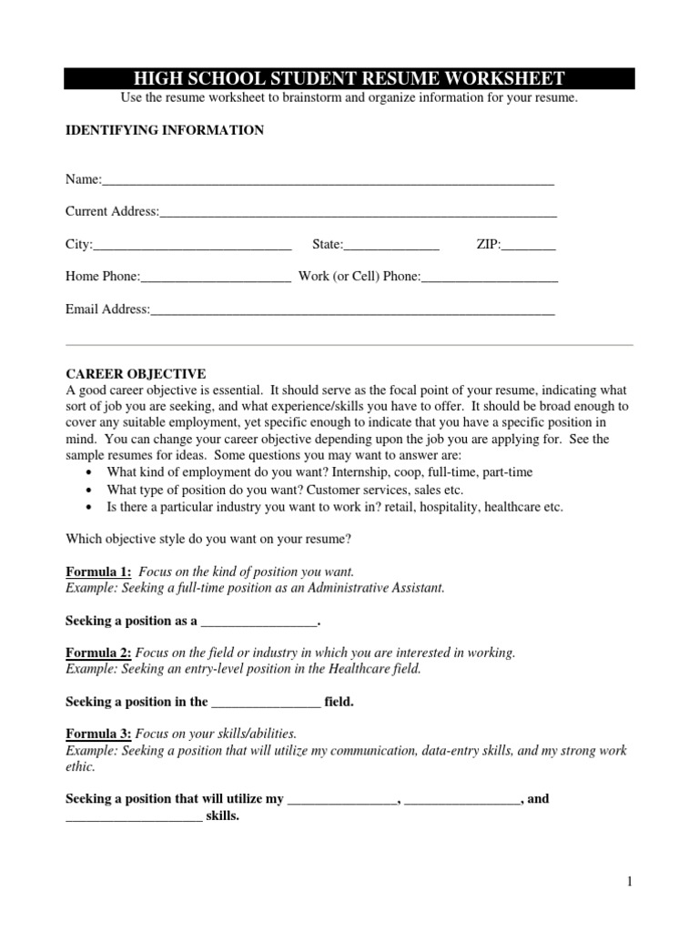 high school student resume worksheet résumé secondary entry level does teenager need Resume Entry Level High School Student Resume