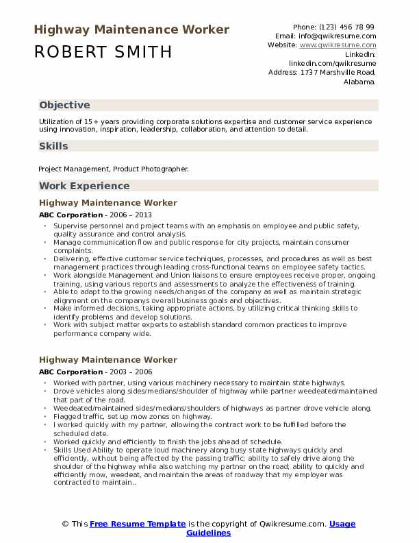highway maintenance worker resume samples qwikresume skills for pdf sample special needs Resume Skills For Maintenance Worker Resume