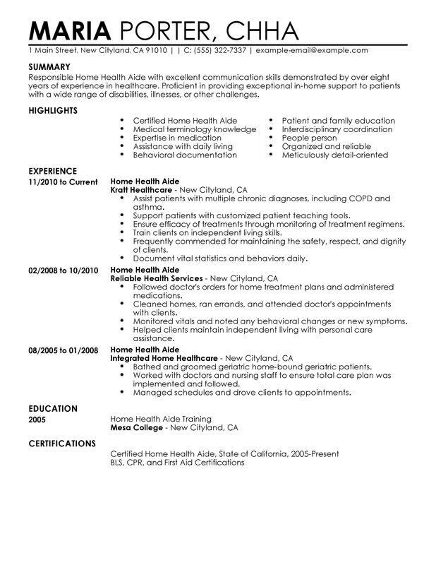 home health aide resume examples free to try today myperfectresume sample healthcare Resume Home Health Aide Resume Sample