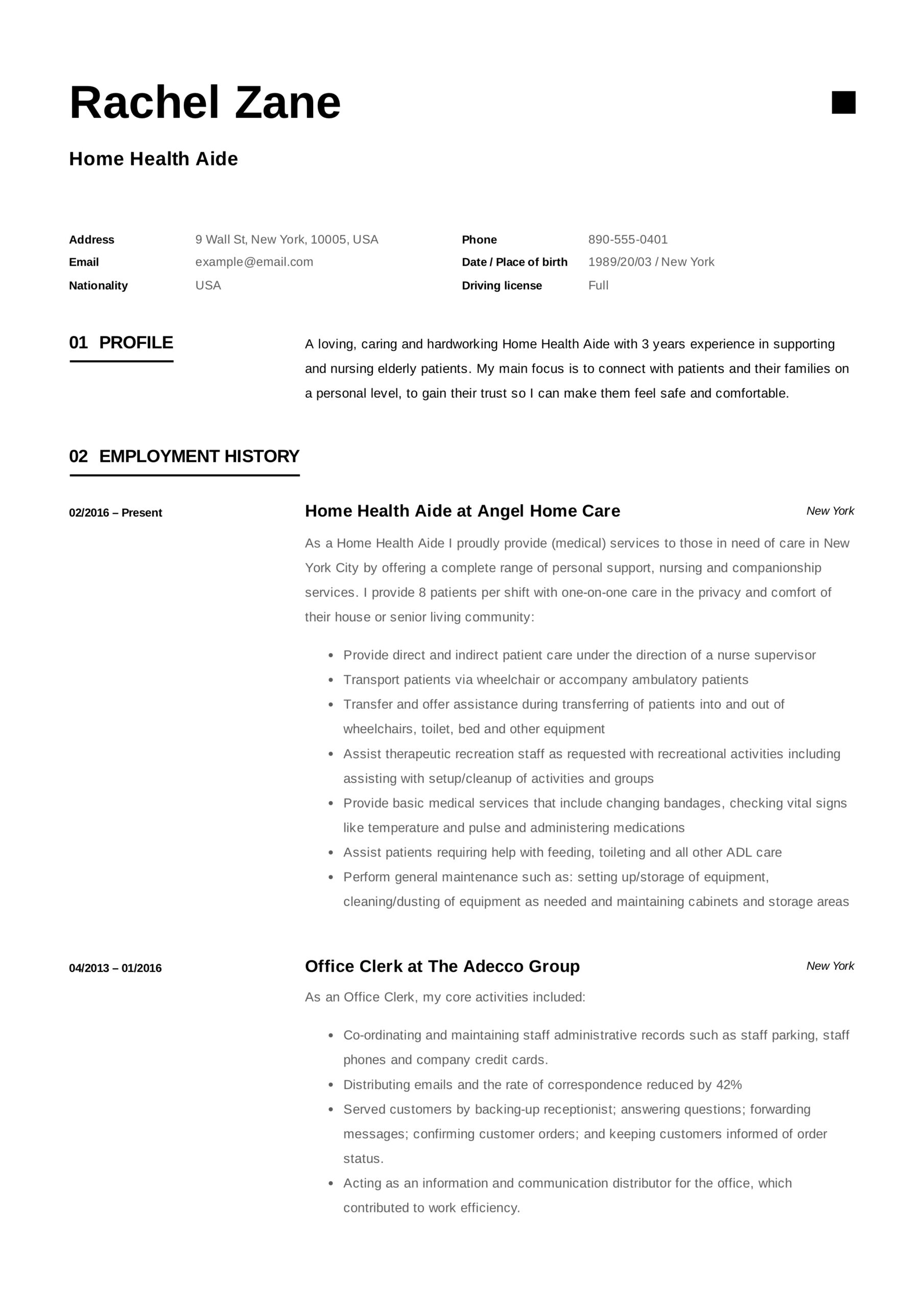 home health aide resume sample writing guide samples pdf care examples healt accounting Resume Home Care Resume Examples