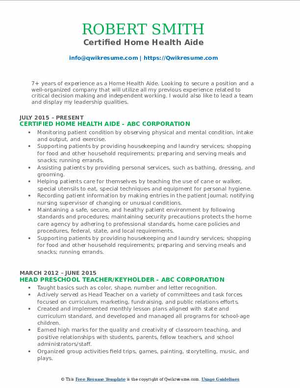 home health aide resume samples qwikresume certified sample pdf past or present tense Resume Certified Home Health Aide Resume Sample