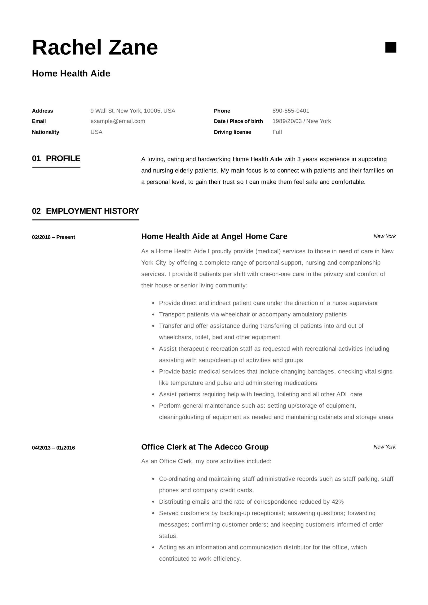 home health aide resume template graphic design examples sample email of center manager Resume Home Health Aide Resume Sample