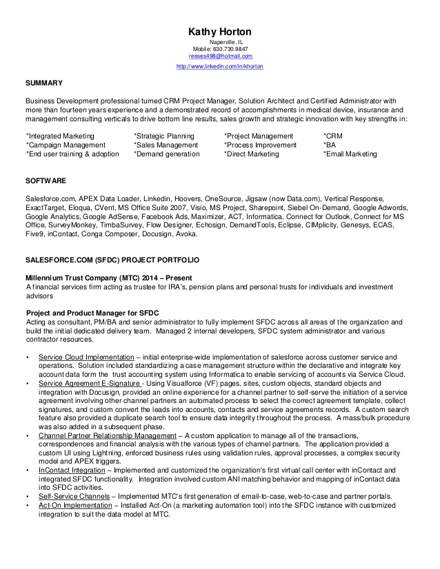 horton kathy sfdc consultant resume sample for salesforce administrator should you put Resume Sample Resume For Salesforce Administrator