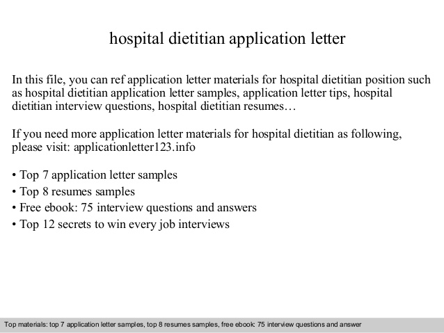 hospital dietitian application letter clinical resume cover doctor receptionist graduate Resume Clinical Dietitian Resume Cover Letter