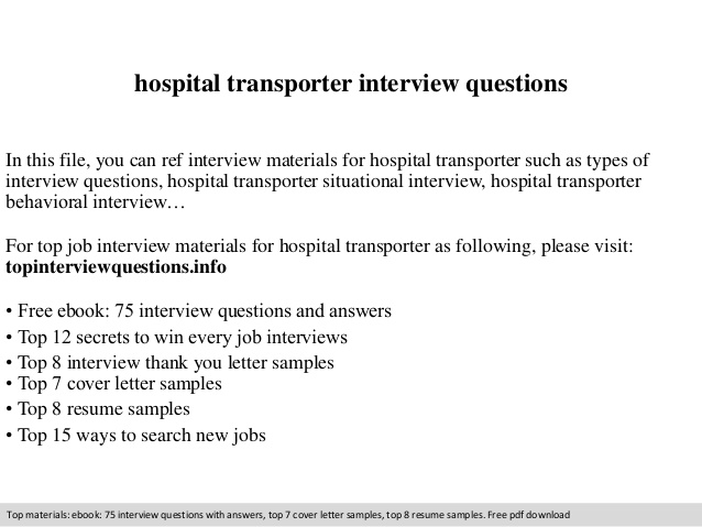 hospital transporter interview questions patient resume office coordinator experienced Resume Patient Transporter Resume