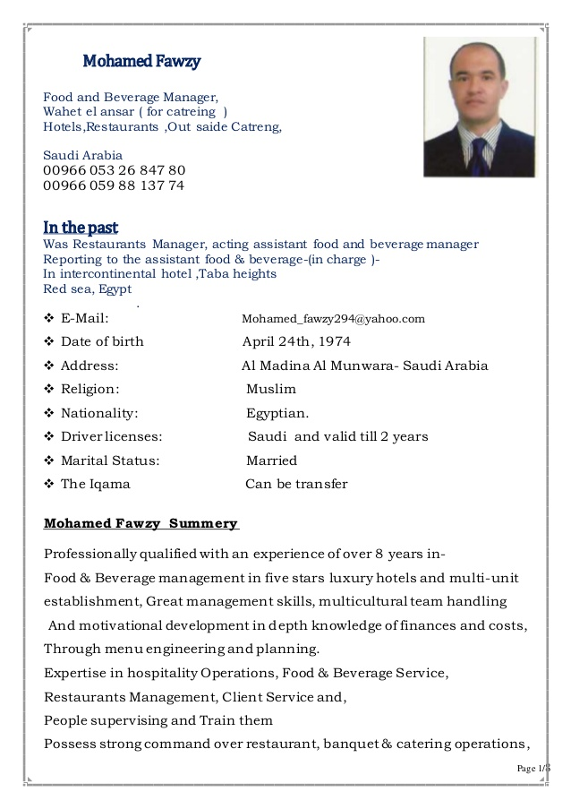 hotel operation manager said banquets con beverage resume restaurantsout catering Resume Beverage Manager Resume