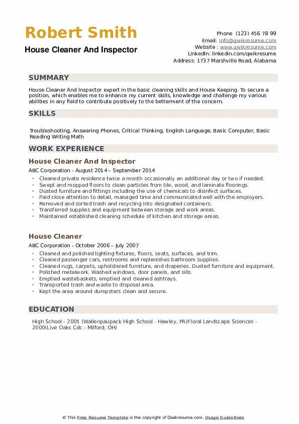house cleaner resume samples qwikresume for cleaning position pdf janitor examples Resume Resume For Cleaning Position