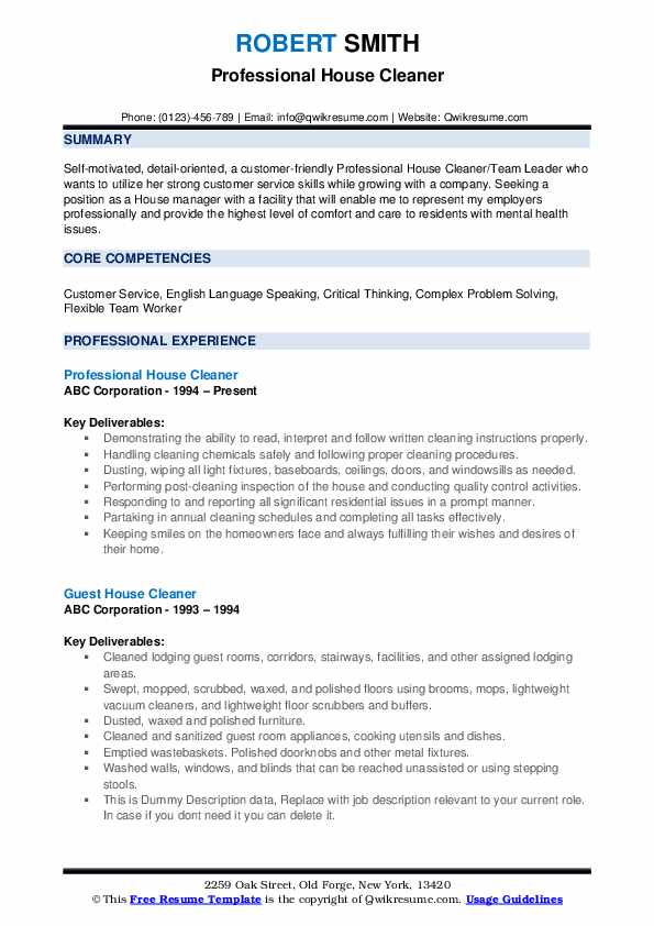 house cleaner resume samples qwikresume residential cleaning pdf mechanical design Resume Residential House Cleaning Resume