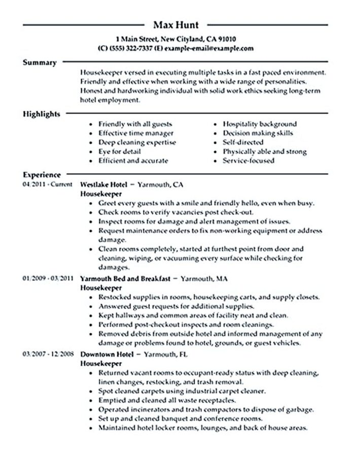 housekeeper resume should able to contain and highlight important aspects that help you Resume Resume Highlights Sample