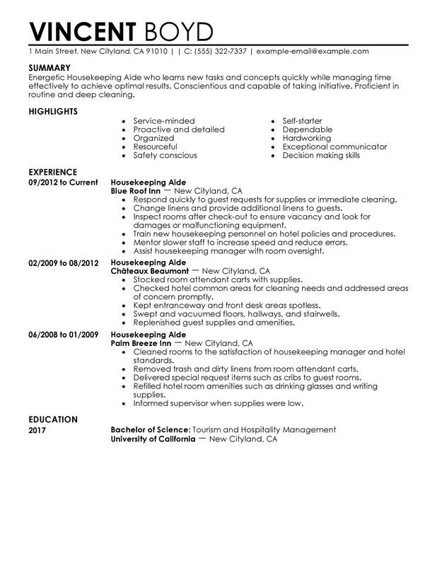 housekeeping aide resume examples created by pros myperfectresume for job hotel and Resume Resume For A Housekeeping Job