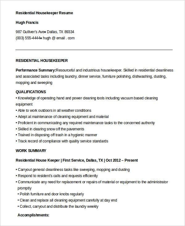 housekeeping resume example free word pdf documents premium templates for job residential Resume Resume For A Housekeeping Job
