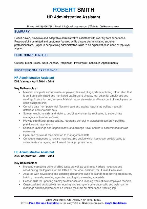 hr administrative assistant resume samples qwikresume good summary for pdf accounts Resume Good Summary For Resume For Administrative Assistant