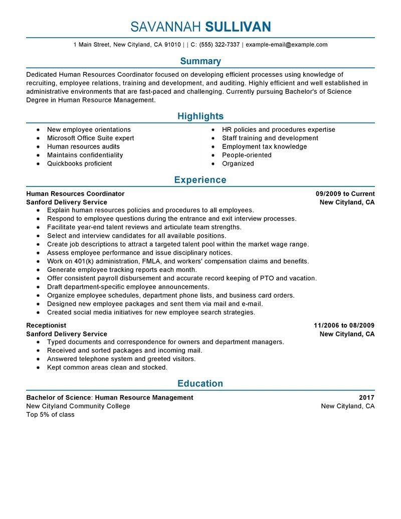 hr coordinator resume example human resources sample resumes livecareer writing services Resume Sample Resume For Coordinator Position
