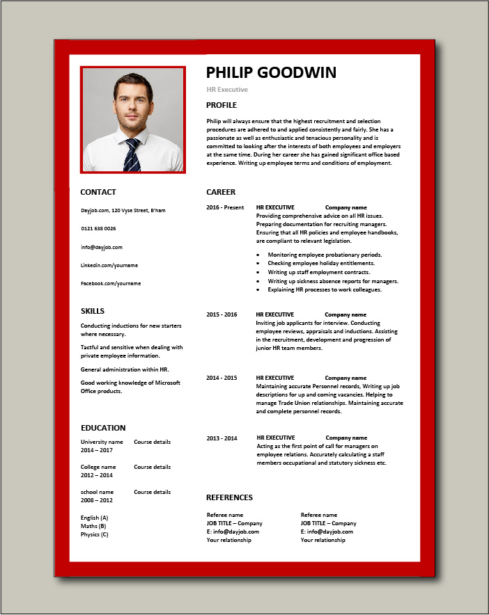 hr executive resume human resources sample example jobs talent employees skills template Resume Human Resources Resume Template