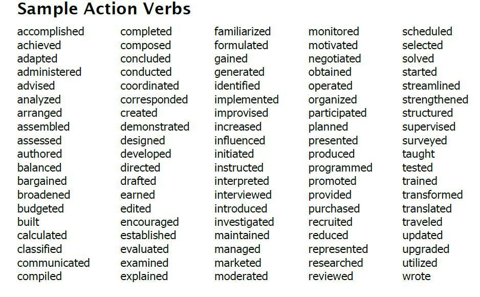 http bizdoska wp content uploads teacher resume examples verbs and adjectives sc action Resume Skills Adjectives Resume