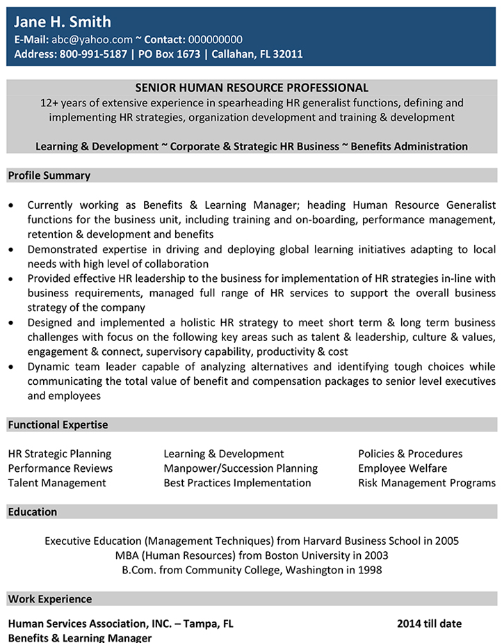 human resources cv format resume sample and template international hr elevator project Resume Human Resources Resume Template