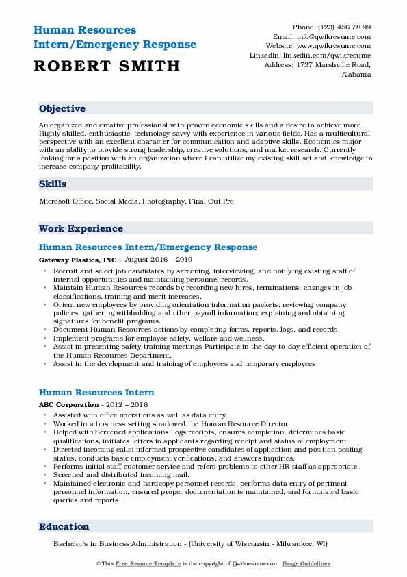 human resources intern resume samples qwikresume objective for economics graduate pdf Resume Resume Objective For Economics Graduate