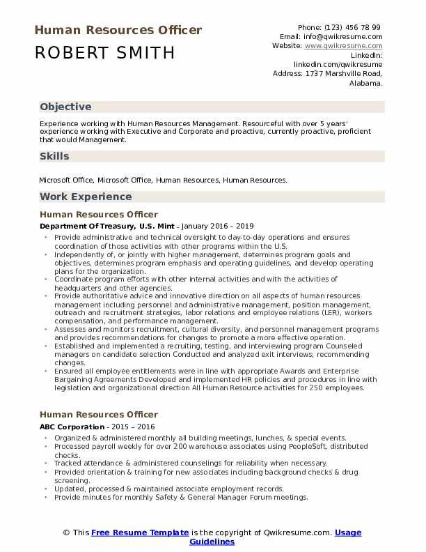 human resources officer resume samples qwikresume template pdf career goals for teachers Resume Human Resources Resume Template