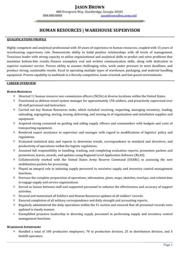 human resources warehouse supervisor resume sample examples job samples first mba demain Resume Warehouse Supervisor Resume