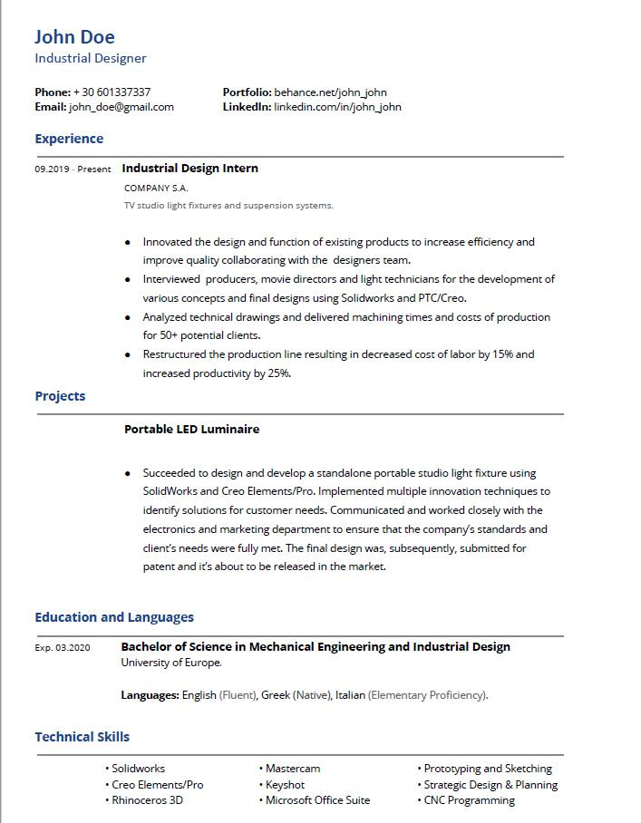 industrial designer resume review in months getting my degree and actively applying for Resume Industrial Designer Resume