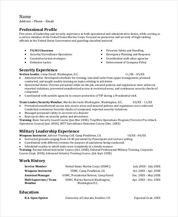 infantryman resume template free word pdf document downloads premium templates marine Resume Marine Corps Skills For Resume
