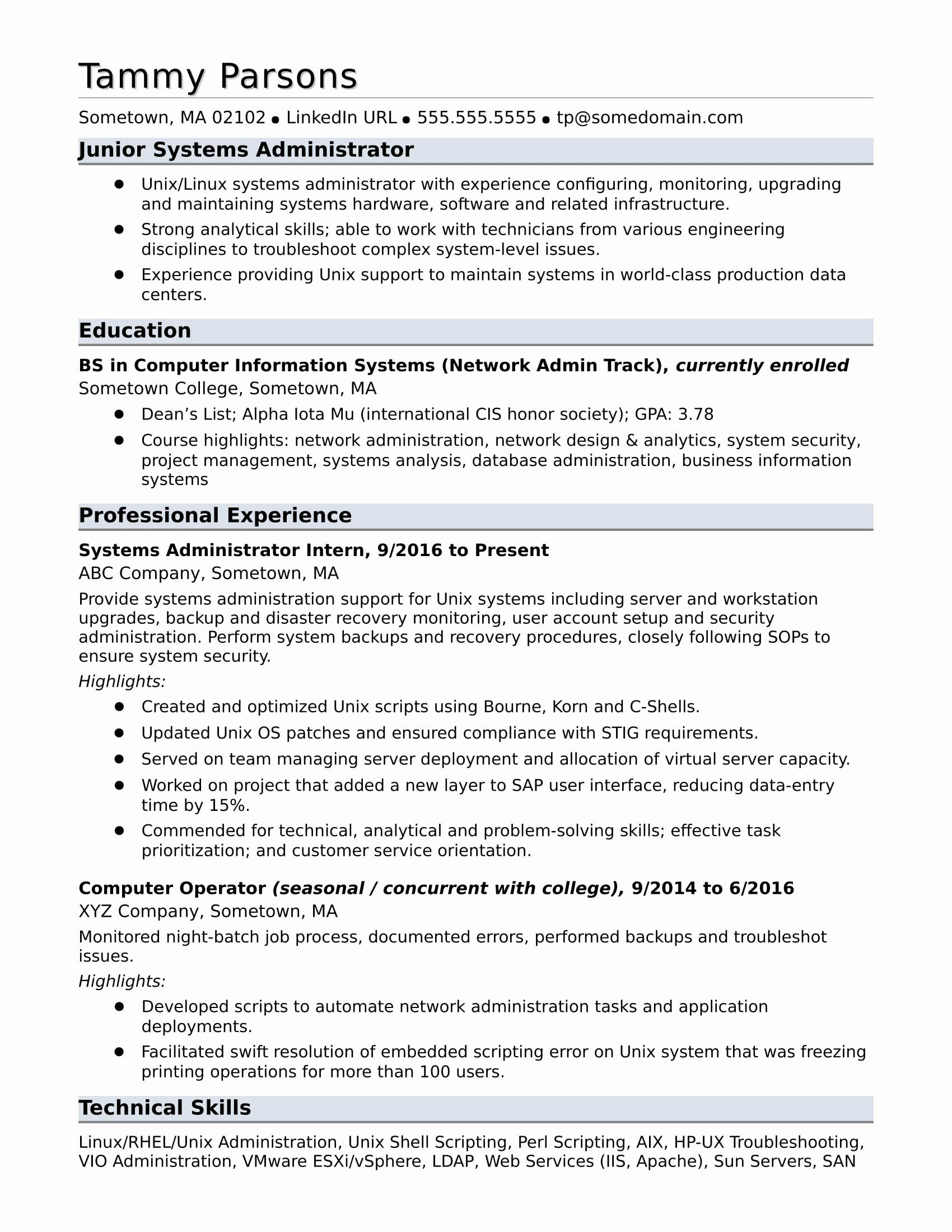 information technology entry level resume lovely sample for an systems administrator in Resume Sample Resume For Salesforce Administrator