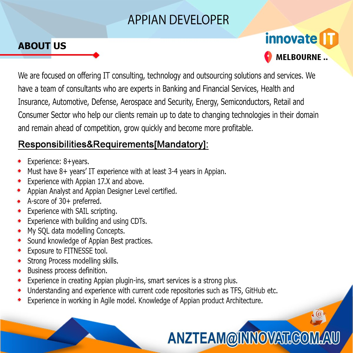 innovat it on jobs australiaexcellent opportunity for appian developer has an experience Resume Appian Developer Resume