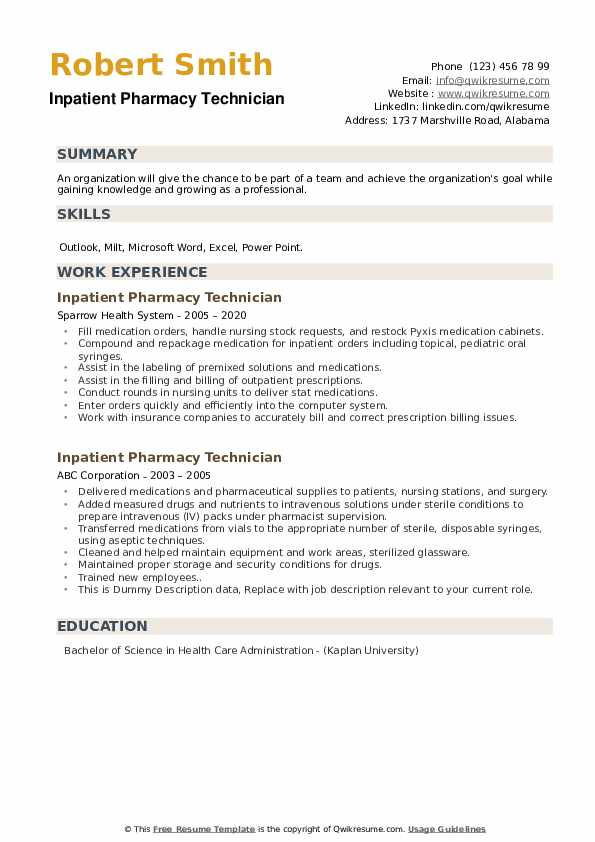 inpatient pharmacy technician resume samples qwikresume pdf background actor sample ccu Resume Inpatient Pharmacy Technician Resume