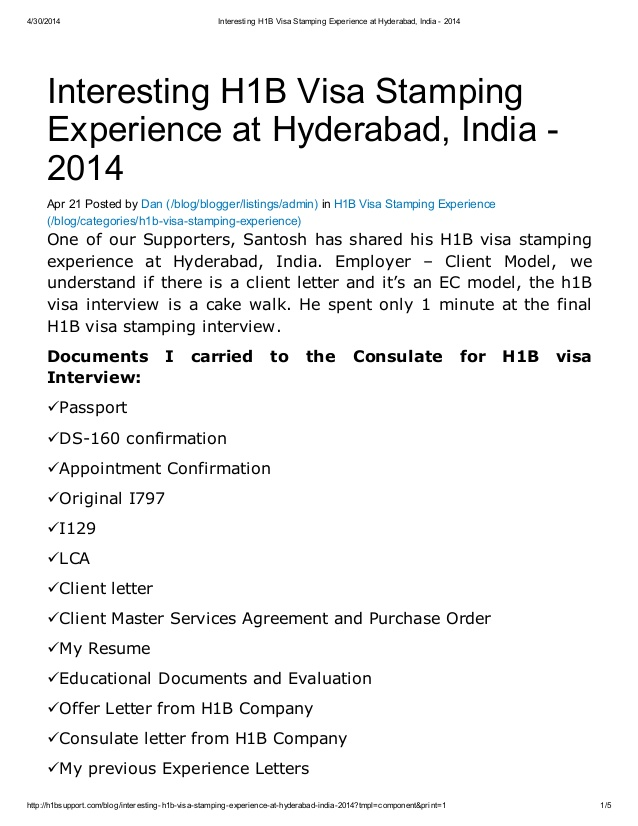 interesting h1b visa stamping experience at hyderabad resume for interview healthcare Resume Resume For H1b Visa Interview