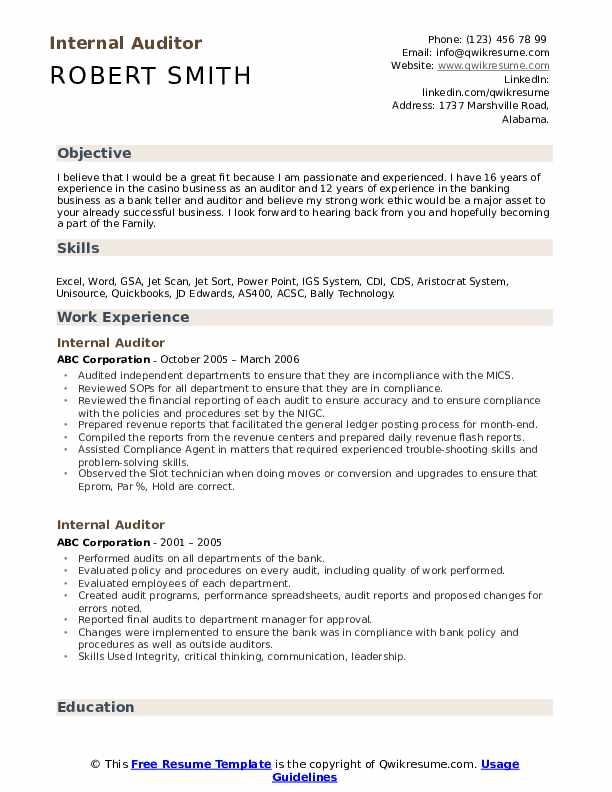 internal auditor resume samples qwikresume bank audit experience for pdf action words Resume Bank Audit Experience For Resume