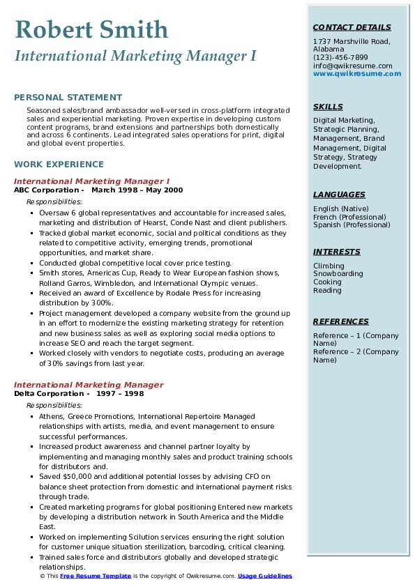 international marketing manager resume samples qwikresume pdf healthcare template stylist Resume International Marketing Manager Resume