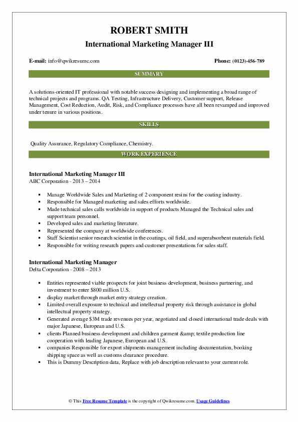 international marketing manager resume samples qwikresume pdf healthcare template Resume International Marketing Manager Resume