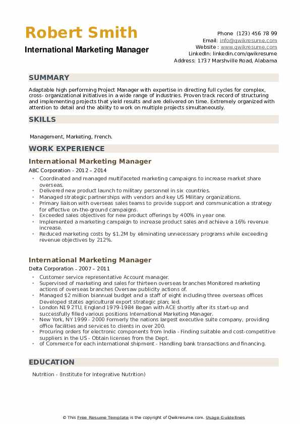 international marketing manager resume samples qwikresume pdf server qualities for Resume International Marketing Manager Resume