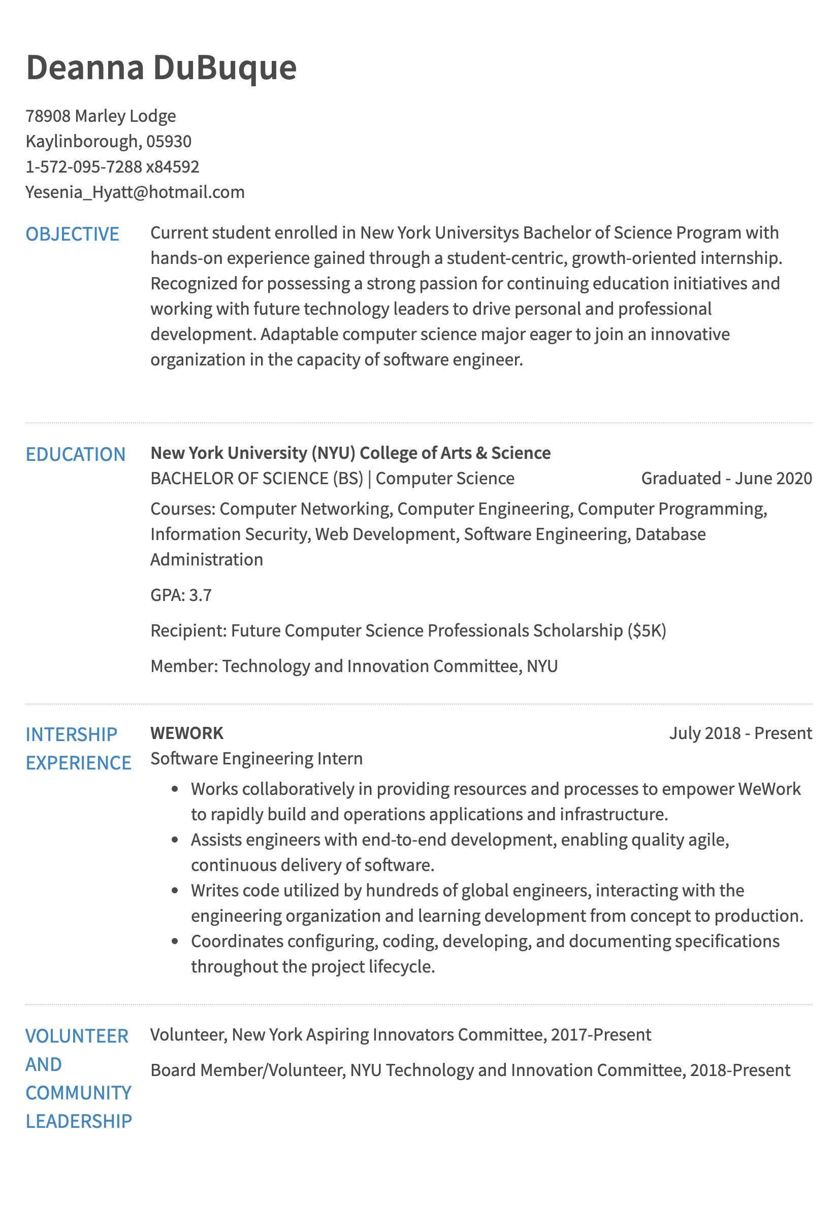 internship resume example college student sample for years of exp itil certified format Resume College Student Sample Resume For Internship