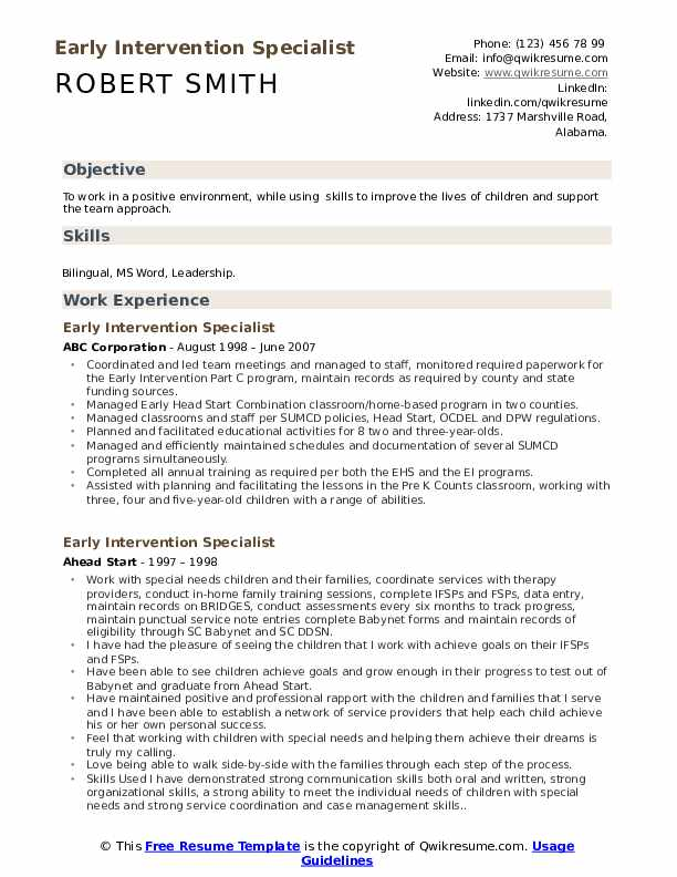 intervention specialist resume samples qwikresume pdf best format for marketing manager Resume Early Intervention Specialist Resume