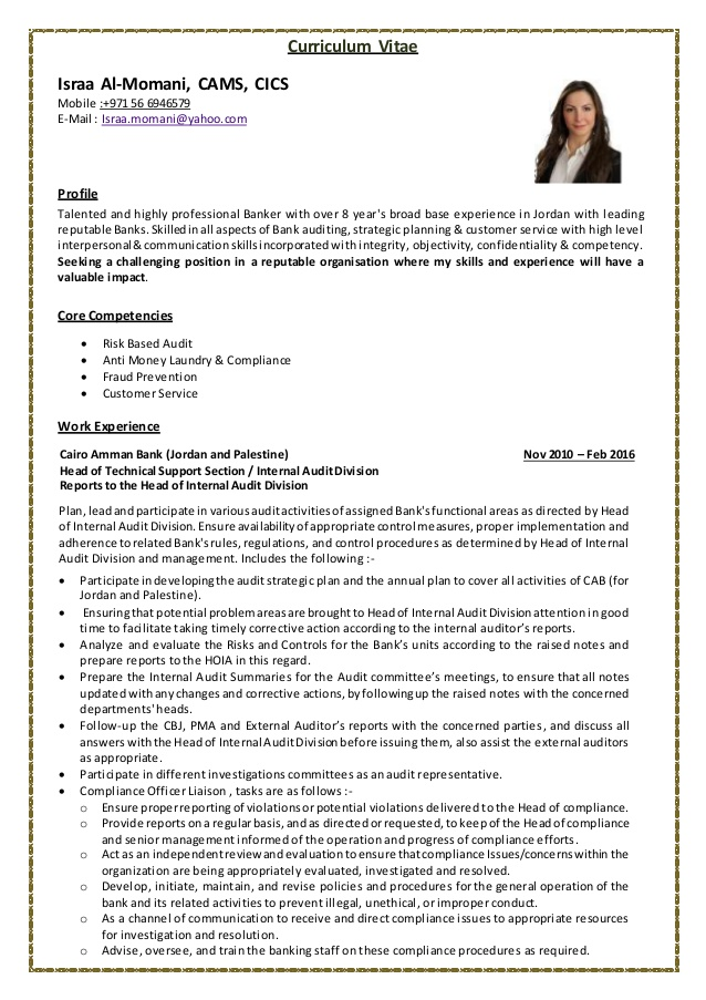 israa almomani banking audit resume bank experience for automotive product specialist Resume Bank Audit Experience For Resume