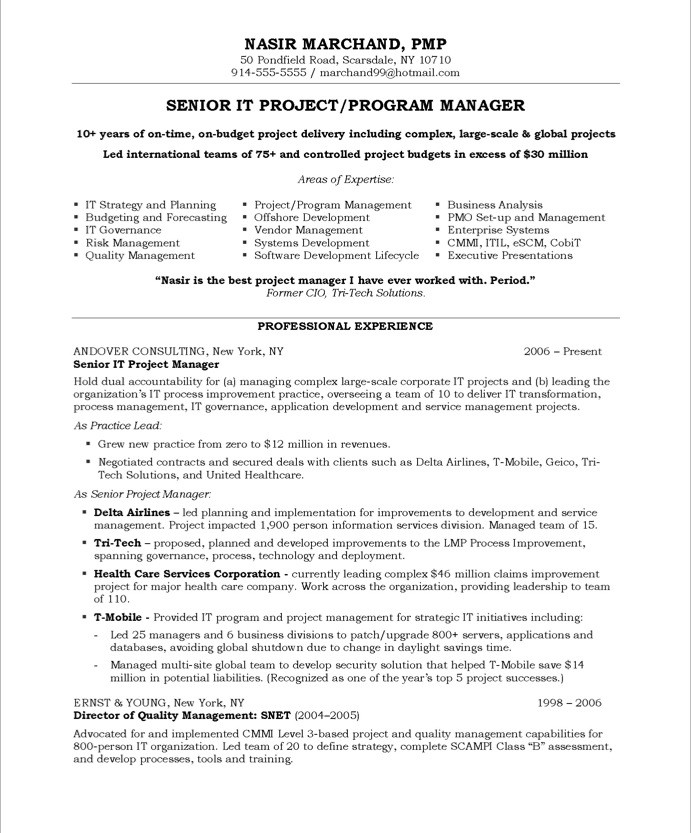 it project manager free resume samples blue sky resumes management professional sample Resume Project Management Professional Resume Sample