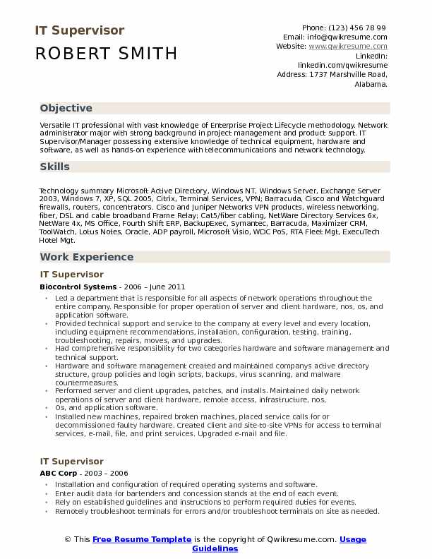 it supervisor resume samples qwikresume objective portion of examples pdf sample for Resume Objective Portion Of Resume Examples